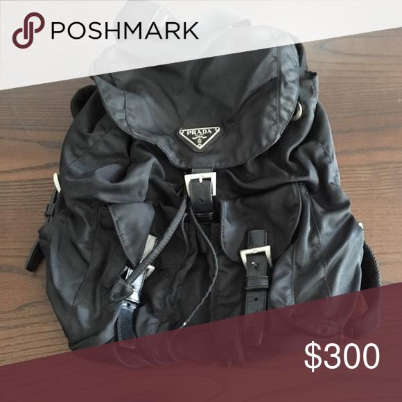 e85b3307c8f7 Prada backpack Authentic PRADA Nylon Vela Medium Backpack Nero Black. The  bag features adjustable nylon