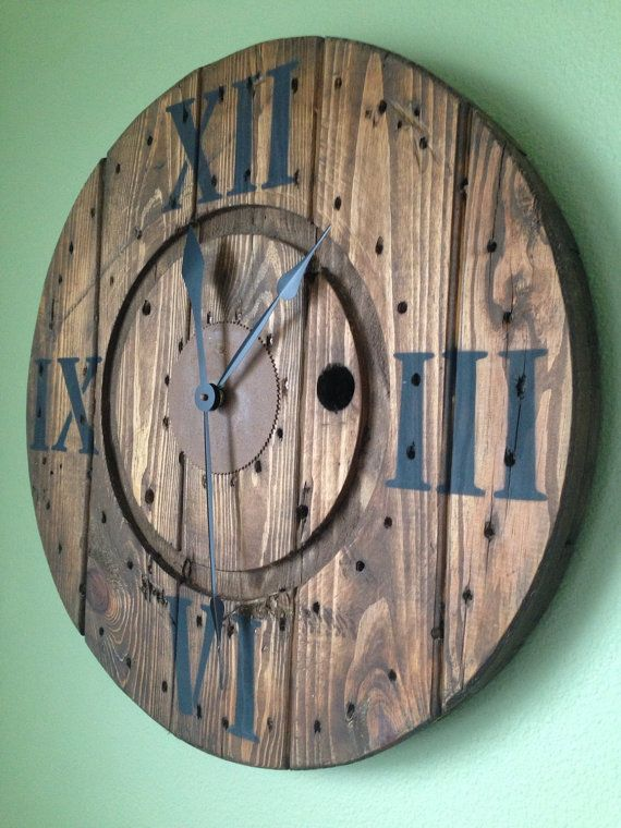 Custom Spool Clocks In 2019 Diy Clock Pallet Clock