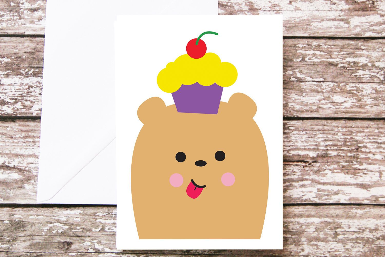 Birthday Cards Cartoon ~ Kids birthday card can be personalised bear and cake cartoon card