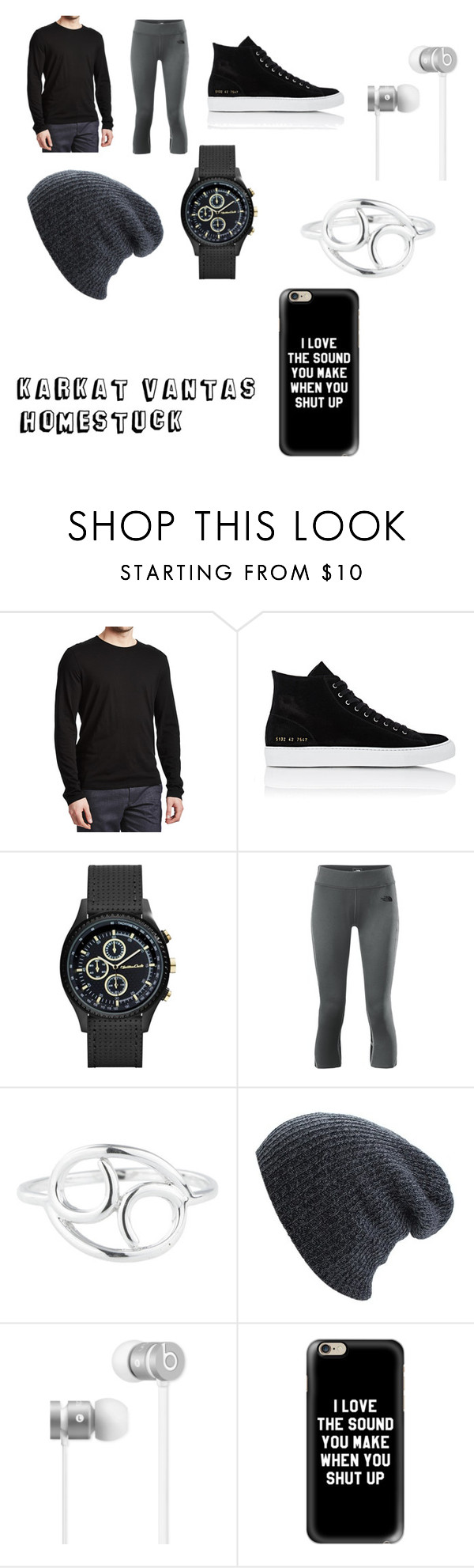 """""""Karkat Vantas"""" by radioactivegreenyt on Polyvore featuring Common Projects, The North Face, Rock 'N Rose, Beats by Dr. Dre and Casetify"""