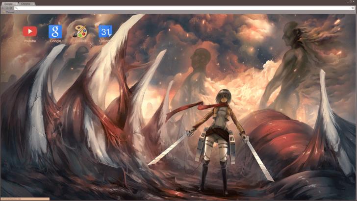 Attack On Titan Mikasa Ackerman Chrome Theme ThemeBeta