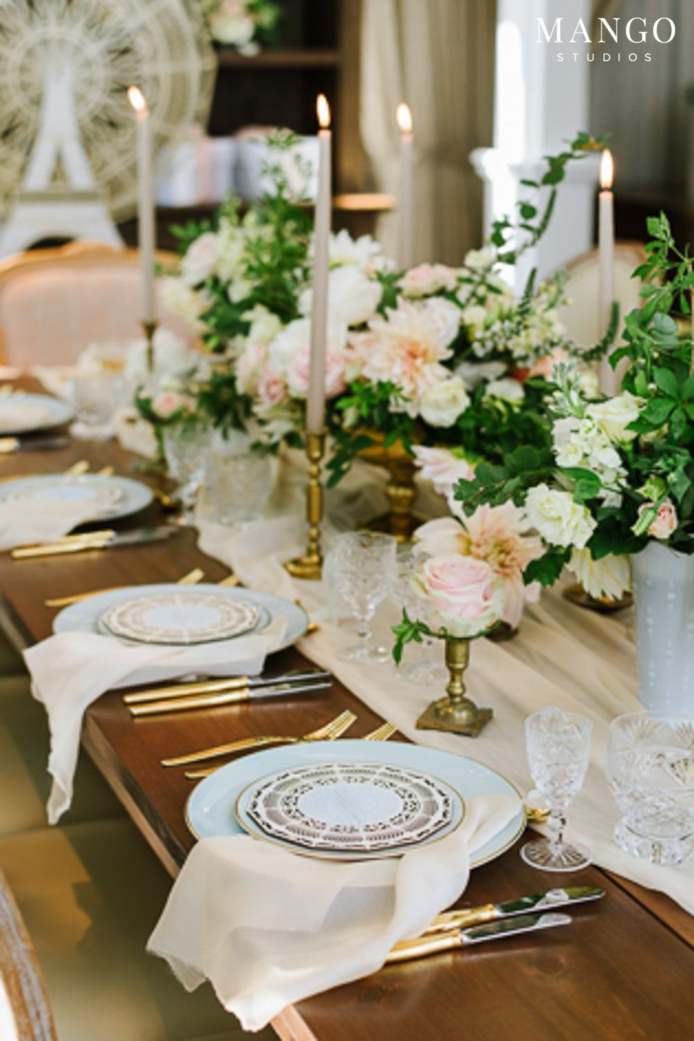 Soft French Wedding Table Decor And Fls