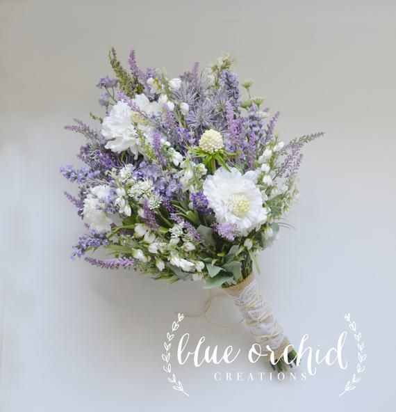 Wildflower Bridal Bouquet – Rustic Bouquet, Lavender Wildflower Bouquet, Shabby Chic Bouquet, Bridal Bouquet, Boho Bouquet