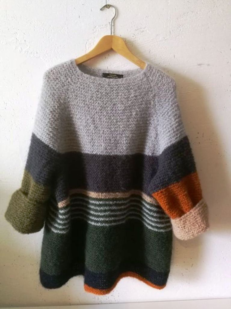 Made by order Top-Down Circular Yoke Pullover, Strip Pullover, Bulky Alpaca/Mohair Sweater, Color-Blocking Sweater, Seamless knitting #knittinginspiration