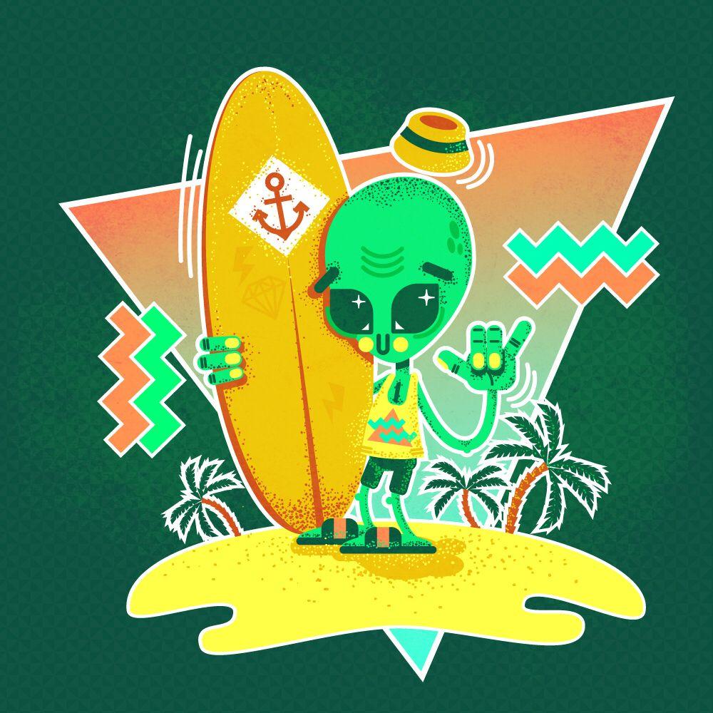 Alien Surfer | CUTE MONSTERS & ALIENS | Pinterest | Aliens