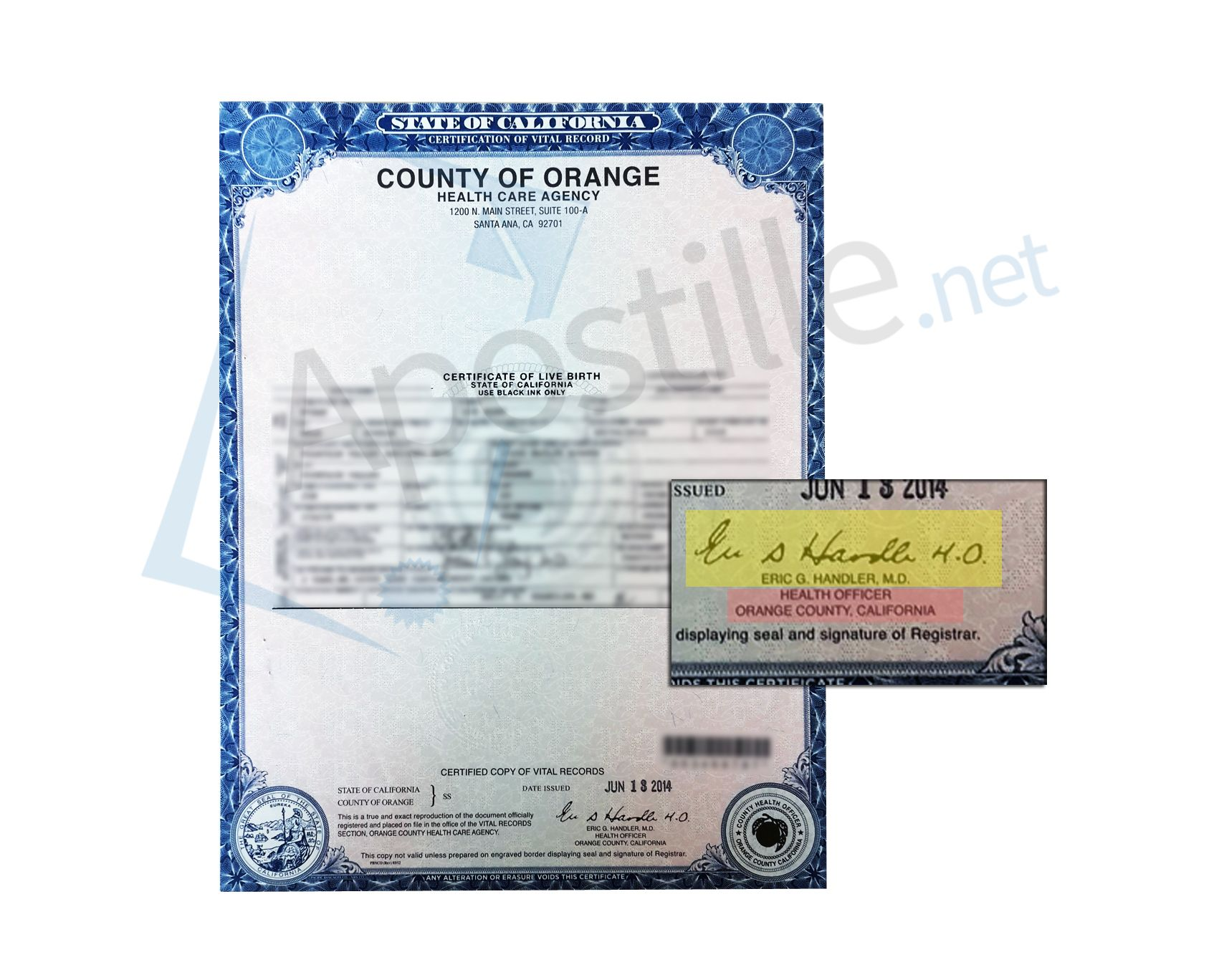 County of orange certificate of birth signed by mark b horton county of orange certificate of birth signed by mark b horton health officer state of california sample apostille pinterest xflitez Gallery