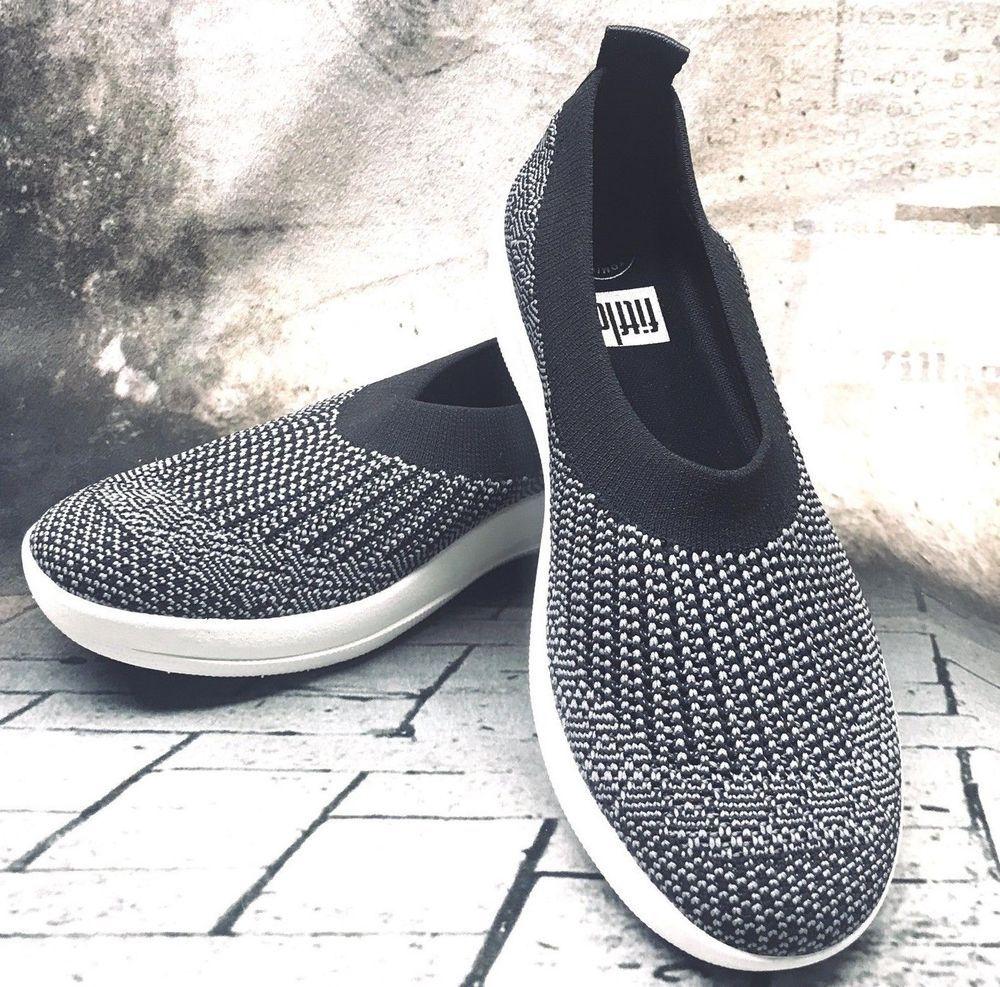 c7a91beac FitFlop Uberknit Ballerina Black Knit Flats Sneakers Women s Shoes Size 8  US 190035463083