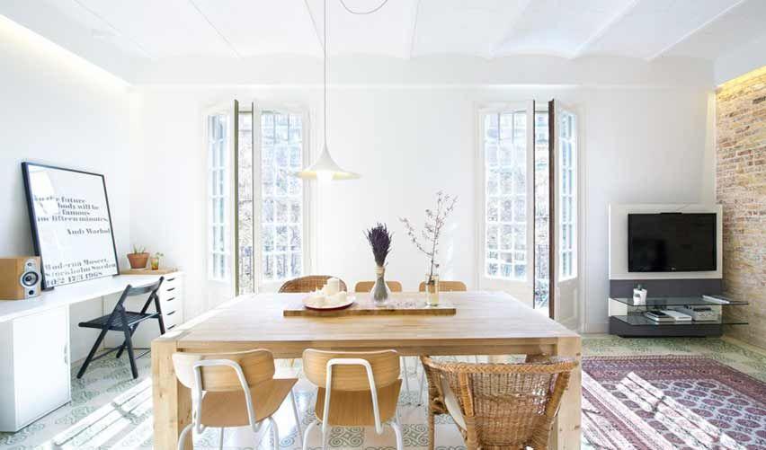 Ideas para reformar un piso de estilo modernista: suelos hidráulicos, parquets antiguos, molduras y vigas