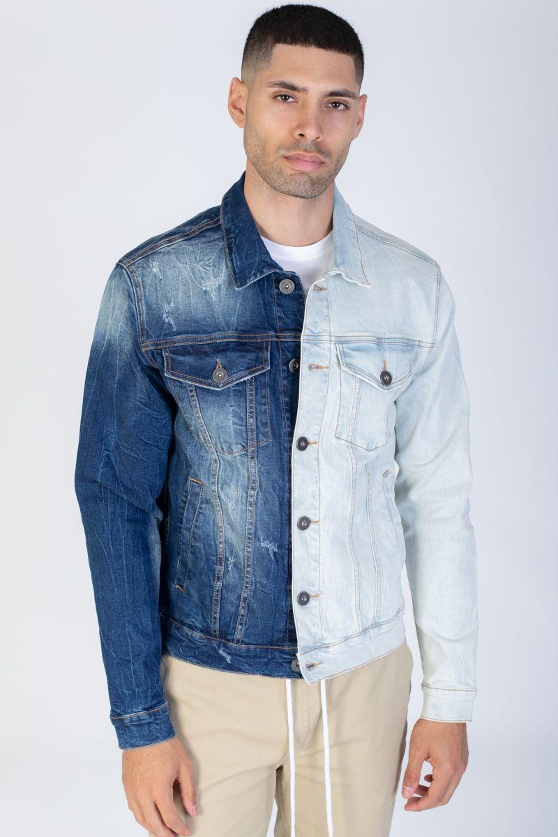 Contrast Denim Jacket Light Color Jeans Denim Jacket Denim Jacket Men [ 1200 x 800 Pixel ]