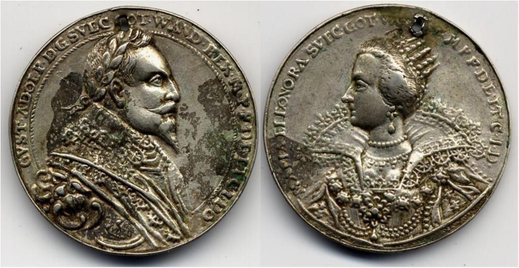 Gustav II Adolf & Maria Eleonora, 1632. Silvermedalj 35 mm, 10,43 gram (Hild 304). Kvalitet 1+. Något ojämn patina, perforerad