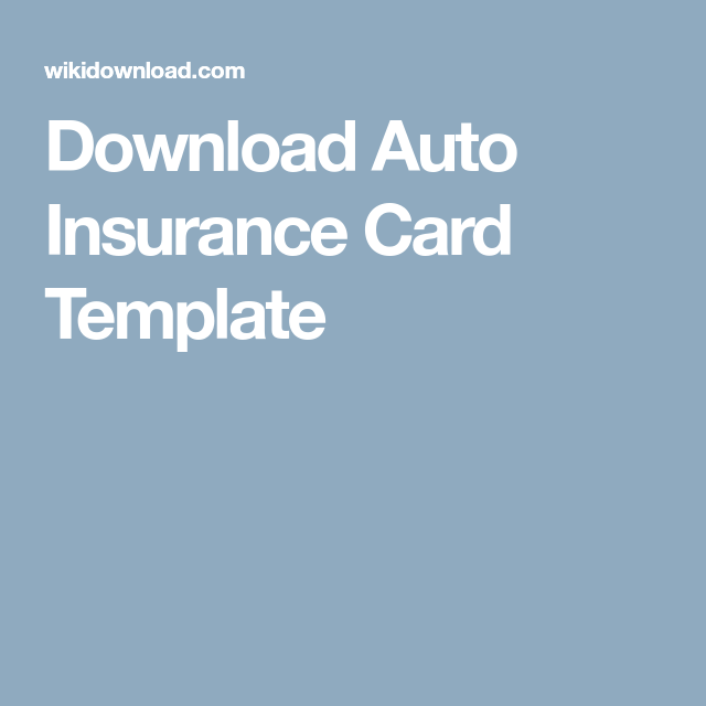 Download Auto Insurance Card Template Car Insurance Card