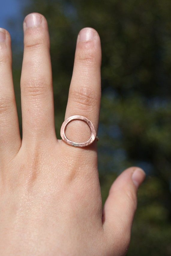 Infinity recycled copper sterling silver wire ring