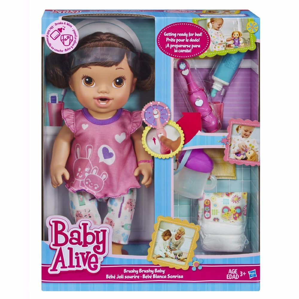Baby Alive Brushy Brushy Baby Doll Brunette Nib Toothbrush Pajamas Diaper Snack Baby Doll Nursery Baby Alive Disney Baby Dolls