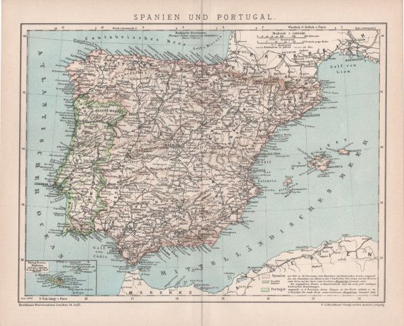1898 Spain  Portugal Map Antique Map Vintage by Craftissimo  Old