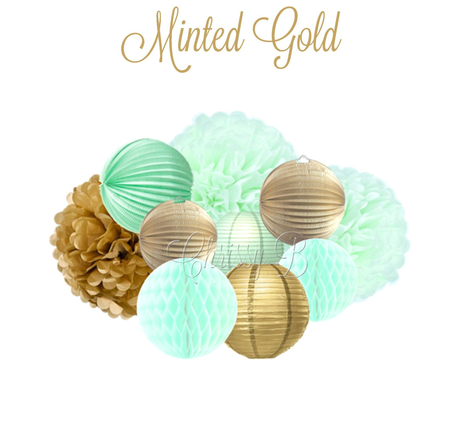 Mint And Gold 10 Piece Tissue Pom, Paper Lantern & Honeycomb