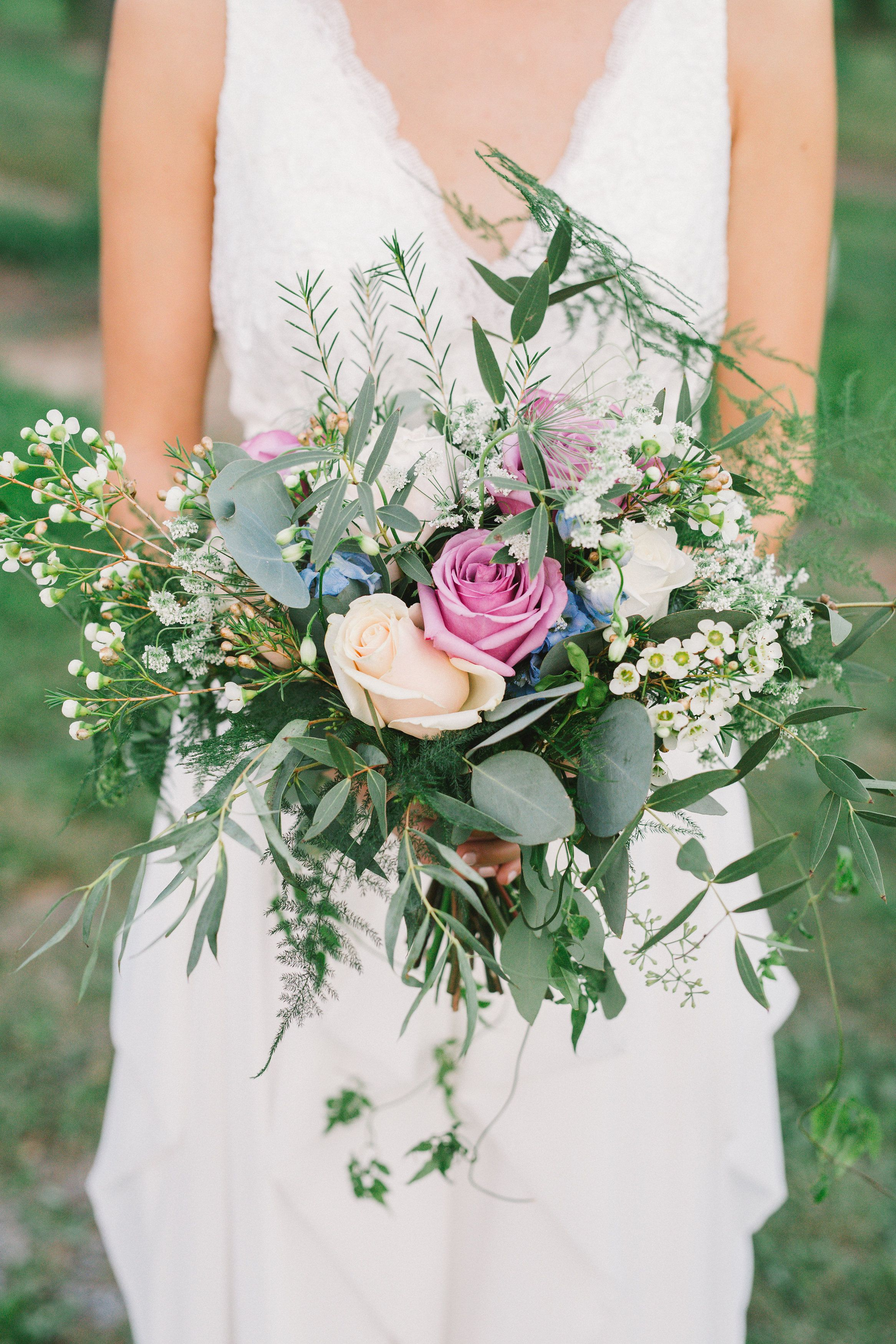 cascading bouquet, roses, summer, vines, fern, peach, pink, blue ...