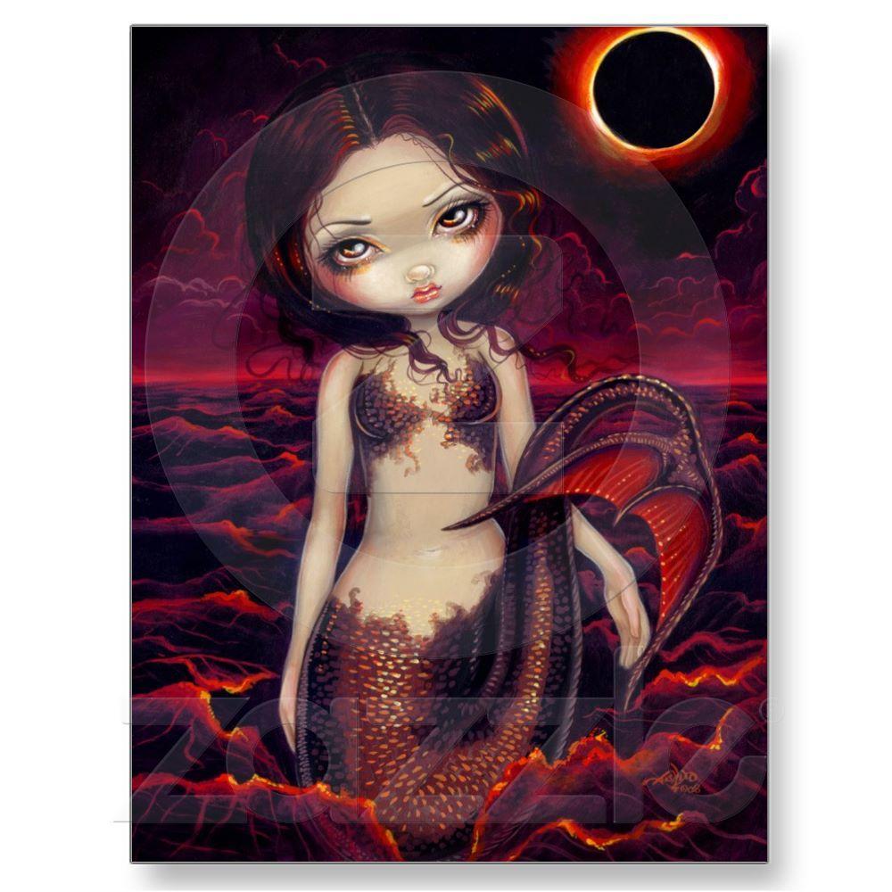 Mermaid Eclipse gothic moon fairy art sea CANVAS PRINT