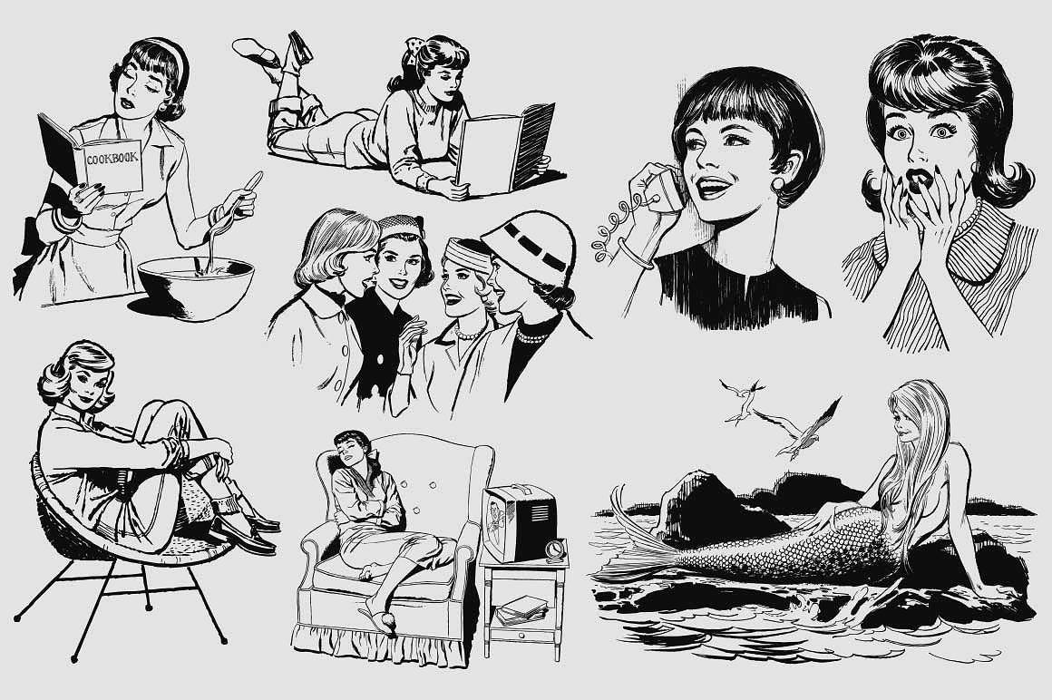 50s Ladies Clip Art Vintage Retro Illustration Retro Vector