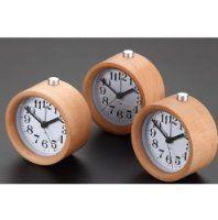 Glomarts Creative Small Round Classic Wood Silent Desk Travel Alarm Clock With Nightlight