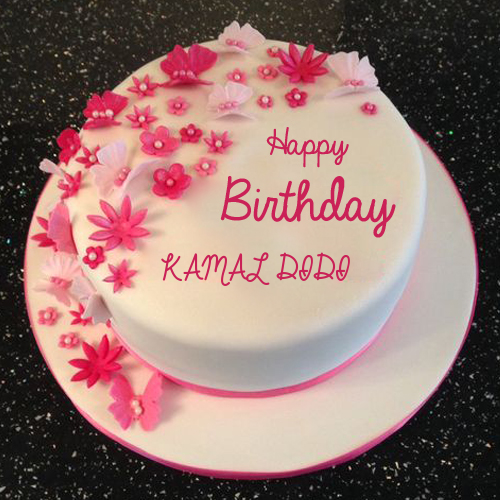 Happy Birthday Flower And Butterfly Cake With Your Name Fondant Cakes Birthday Happy Birthday Cake Writing Happy Birthday Wishes Cake