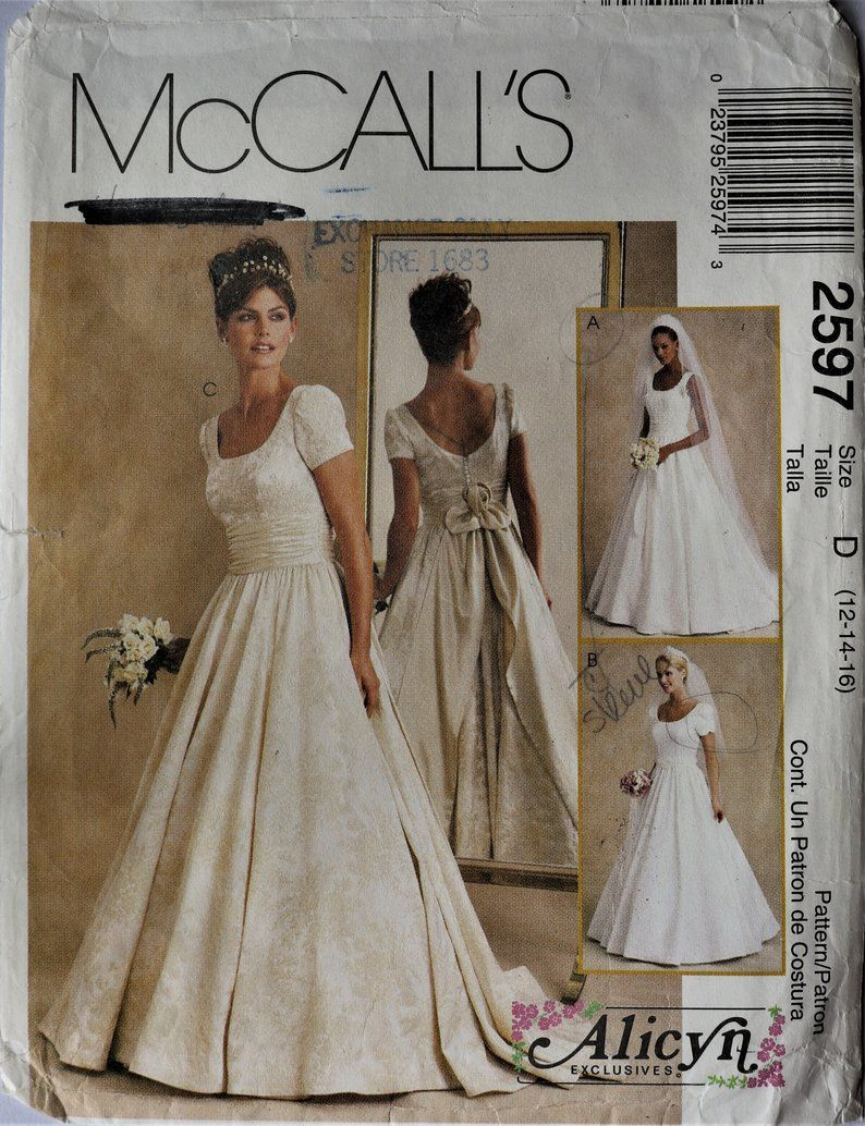Mccall S 2597 Misses Bridal Gown Pattern Wedding Dress Etsy Wedding Dress Patterns Wedding Dress Sewing Patterns Vintage Wedding Dress Pattern