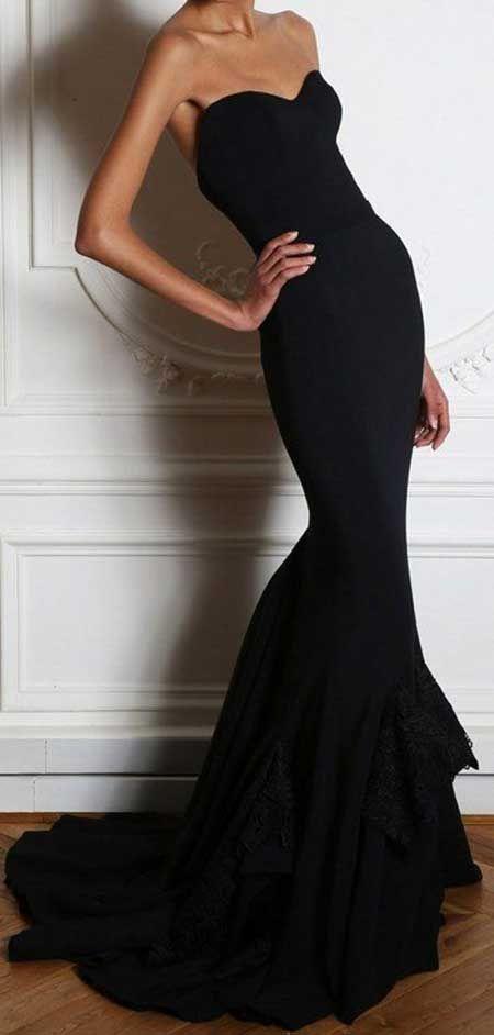 Straplez Kalp Yakali Balik Elbise Modelleri Elbise Siyah Mezuniyet Elbiseleri Elbise Modelleri