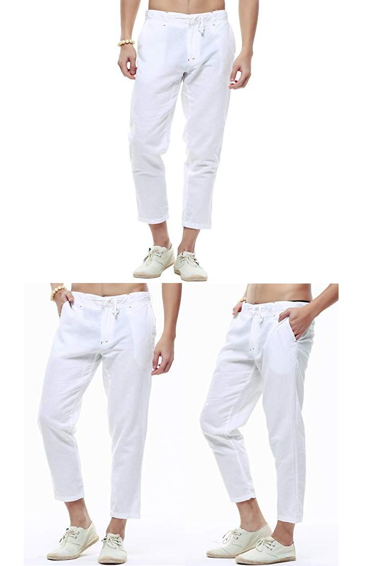 385e596cb5 utcoco Men's Classic Drawstring Waist Tapered Flat-Front Linen Capris|men  black linen pants