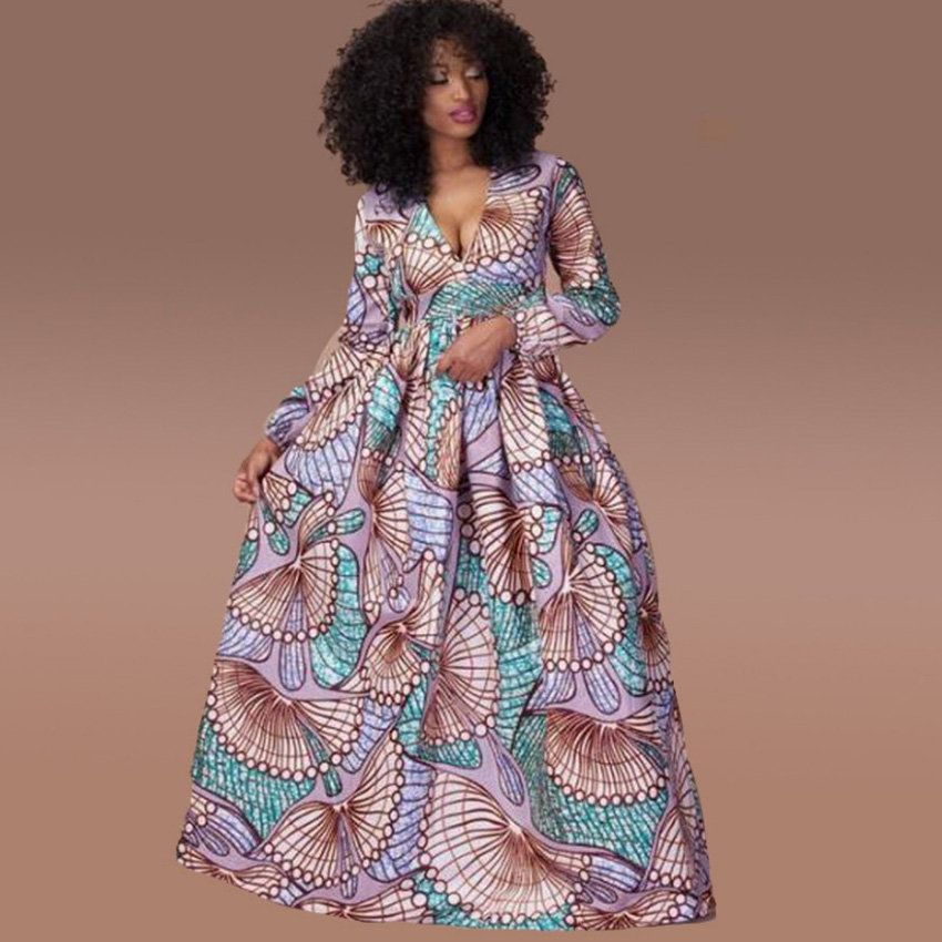 Robe Longue Wax Violet Robe Wax Longue Manches Longues Robe Longue De Soiree Pagne Wax Robe Imprime A Modele De Robe Africaine Mode Africaine Robe Africaine