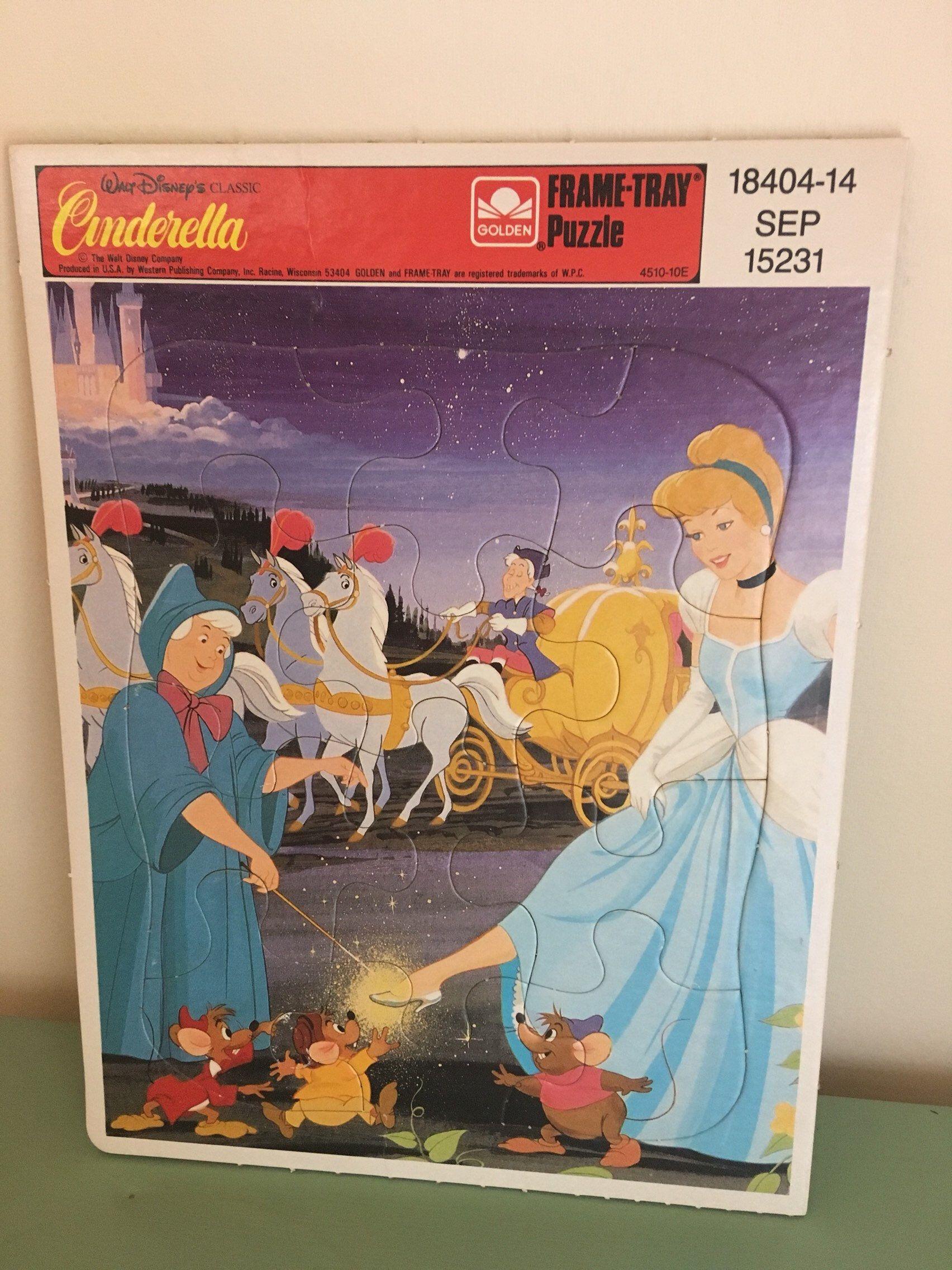 80 S Walt Disney S Classic Cinderella Frame Tray Disney Frames Frame Tray Vintage Disney