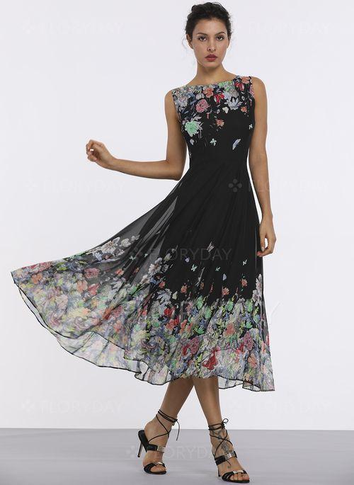 6f32e32799 Vestidos -  45.99 - Vestidos Chifón Elegante A media pierna Sin mangas  Floral Tiras (1955189417)