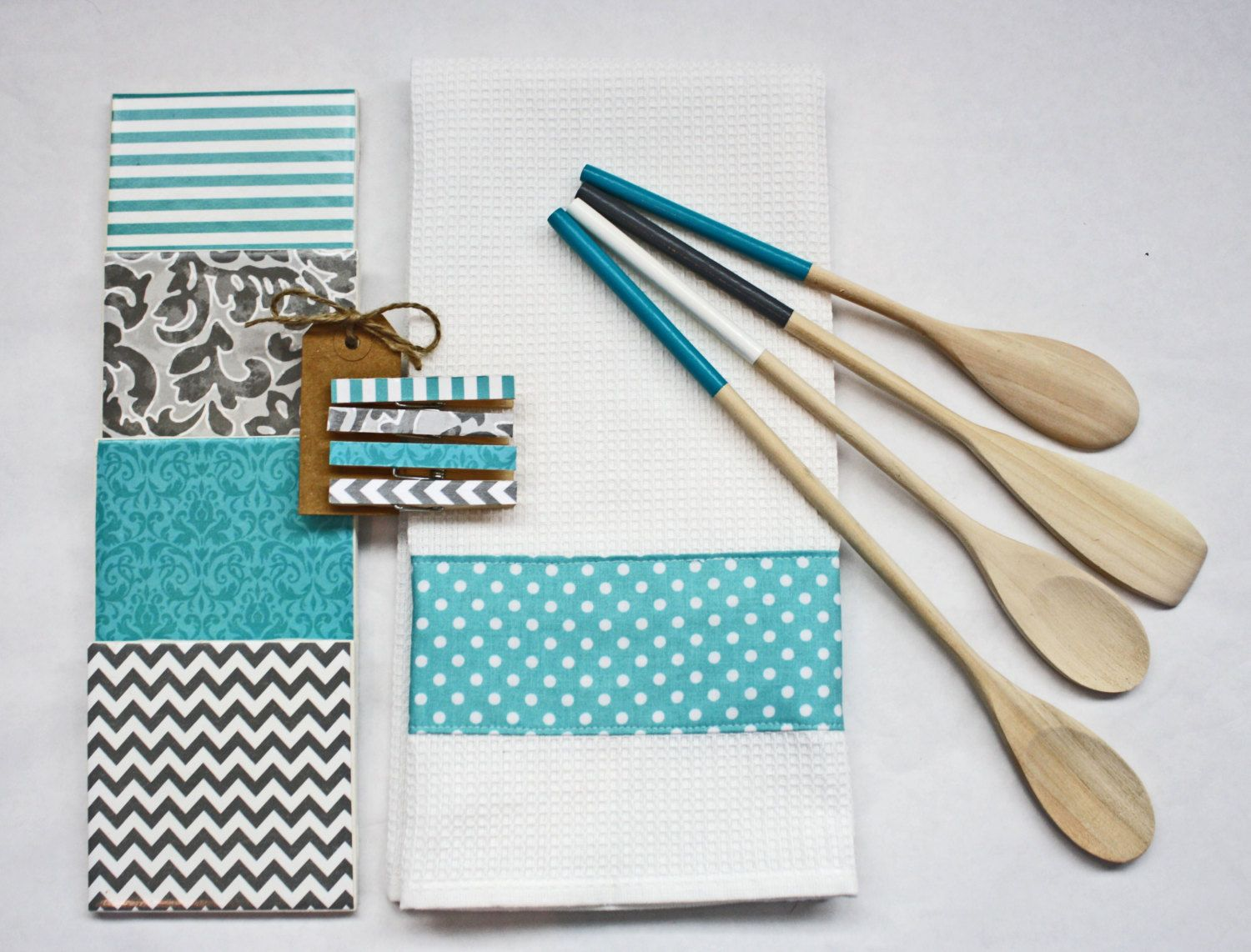 Handmade kitchen gift set Teal and Gray Chevron by PippensKitchen ...