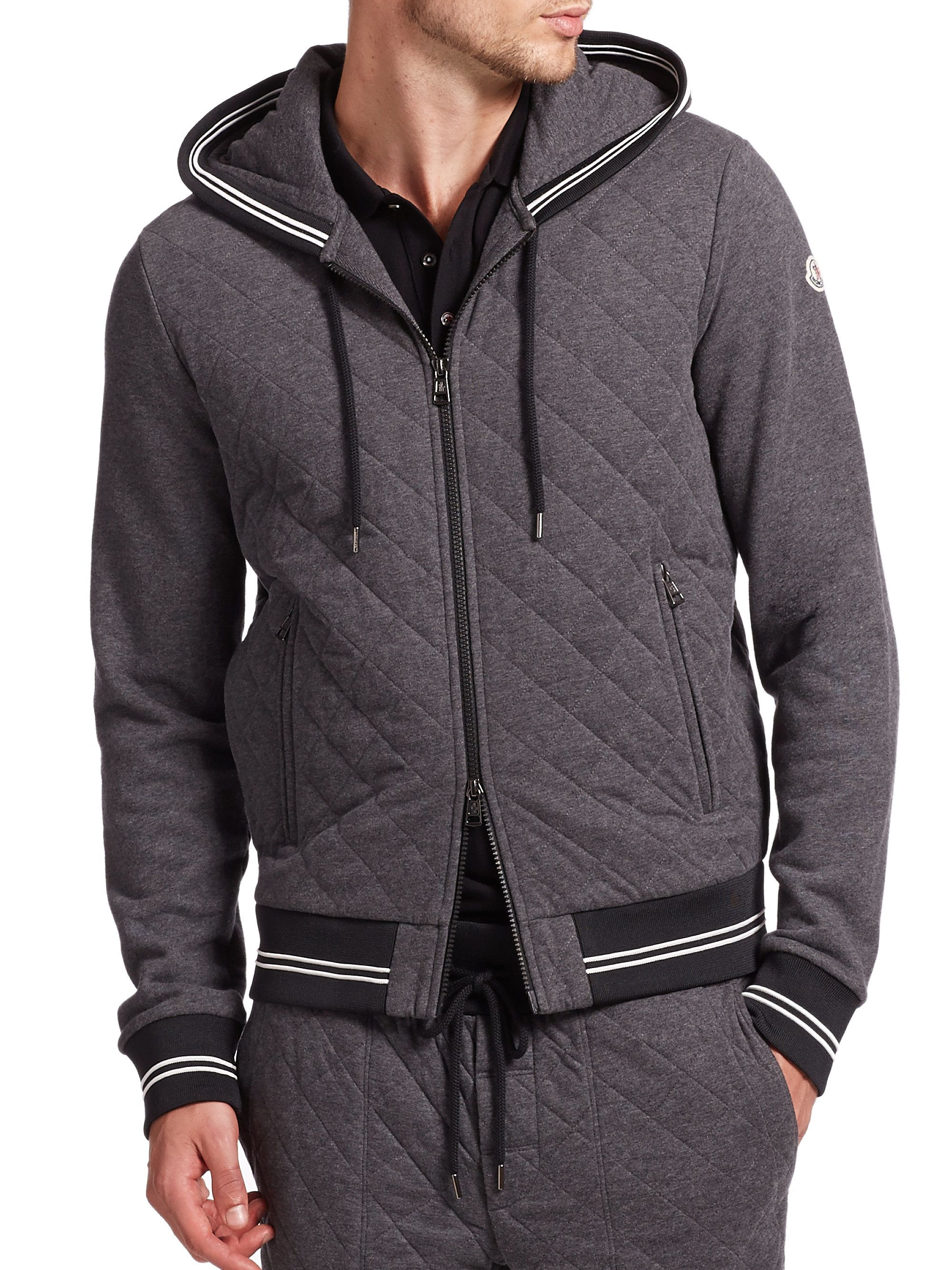Men's Gray Maglia Quilted Banded Cotton Hoodie