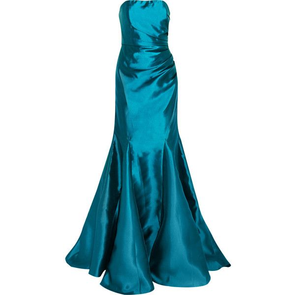 0b87ba7644a8 Badgley Mischka Mikado strapless gathered satin-twill gown ($440) ❤ liked  on Polyvore featuring dresses and gowns