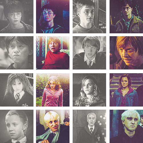 Harry Potter Cast: hermione, ron, harry, draco