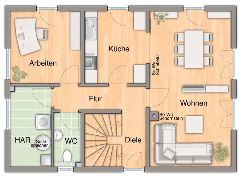 Grundriss einfamilienhaus modern erdgeschoss  Bodensee 144 - Grundriss Erdgeschoss | hausbau | Pinterest ...