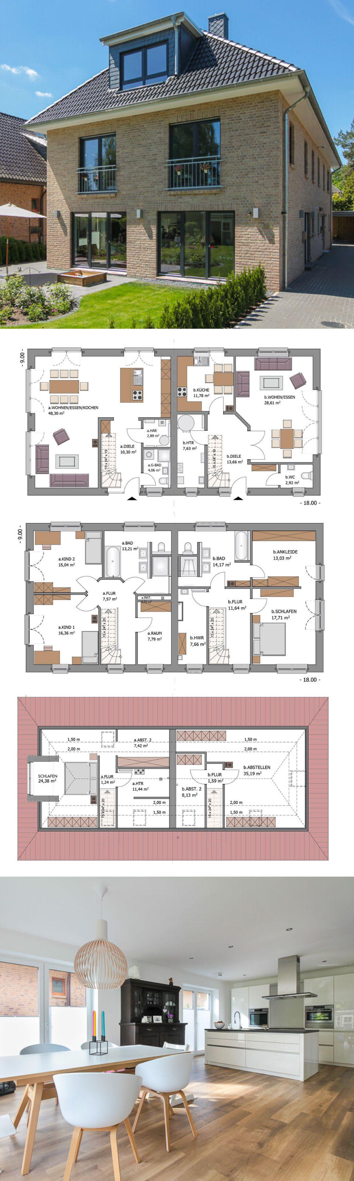Zweifamilienhaus modern mit klinker fassade walmdach for Massivhaus modern