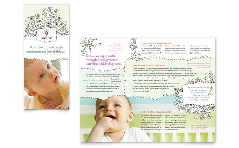 Great Idea  Baby  Child Day Care Tri Fold Brochure Template