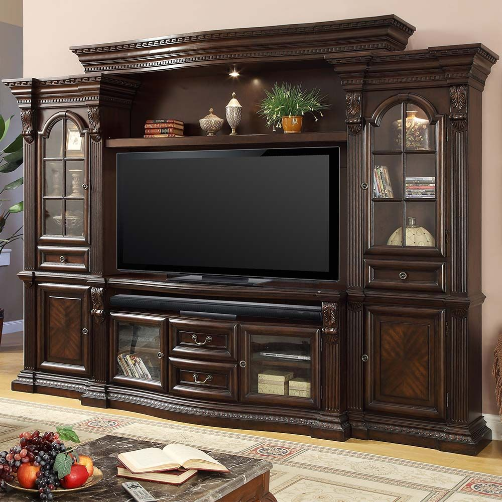 "Home Entertainment Wall Units parker house bella estate 67"" 4 piece entertainment wall unit in"