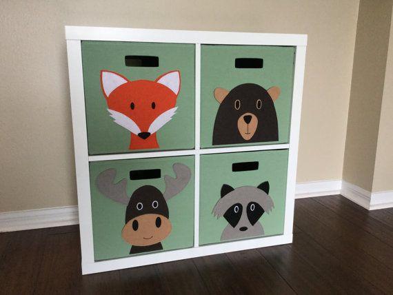 Storage Set For Woodland Nursery Kids Woodland Animal Storage Bin 13 Size Set Of 4 Kids Woodland Kids Storage Bins Woodland Nursery Girl