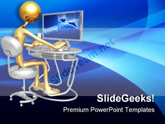 Work Station Monitor Computer Powerpoint Templates And Powerpoint