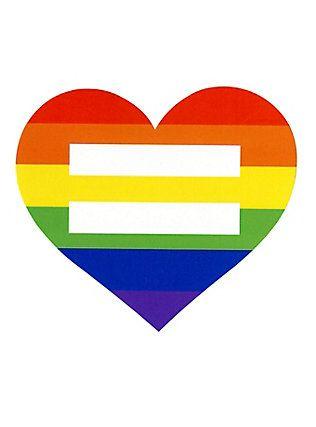 Rainbow Heart Equal Symbol Sticker,