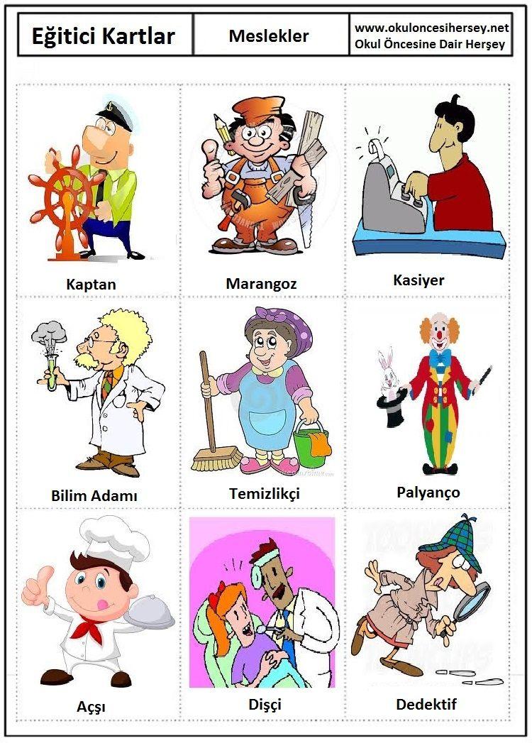 Okul Oncesi Egitici Kartlar Flash Card Meslekler 3 Jpg 750 1047