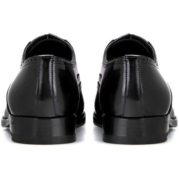Saint Laurent Leather Oxford Shoes ($670) ❤ liked on Polyvore featuring shoes, oxfords, black leather shoes, genuine leather shoes, oxford shoes, kohl shoes and yves saint laurent shoes