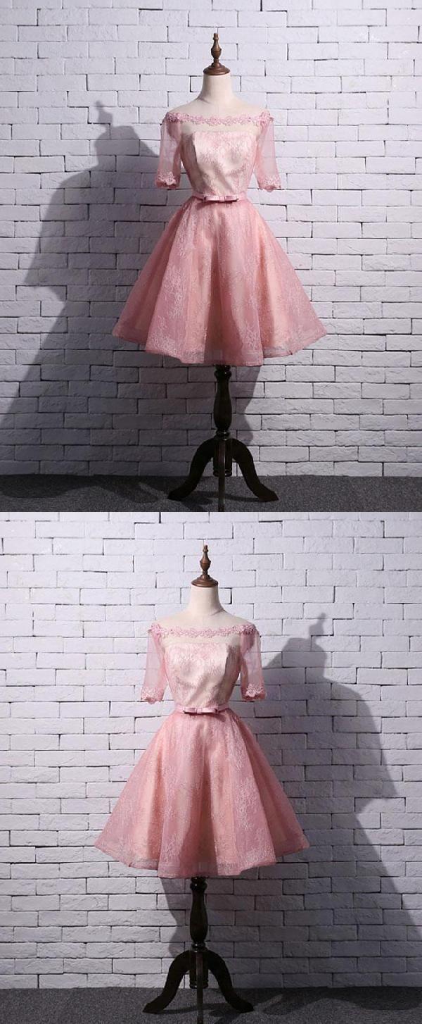 Prom dresses pink prom dresses lace short prom dresses luu
