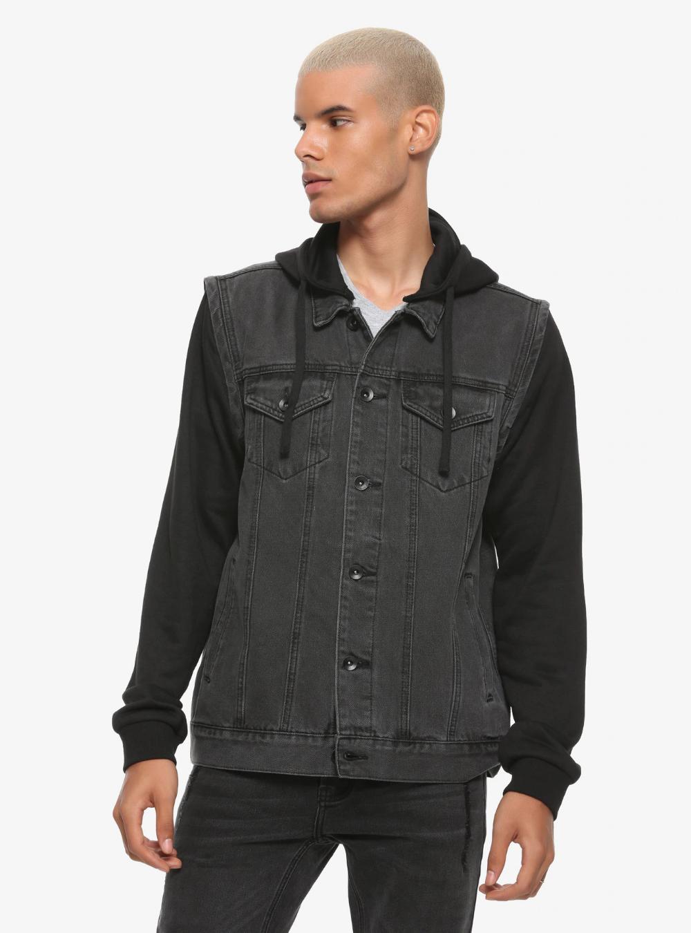 Grey Hooded Denim Vest Denim vest, Indigo denim jacket