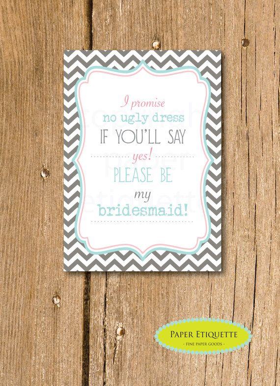 instant upload will you be my bridesmaid invite turquoise and