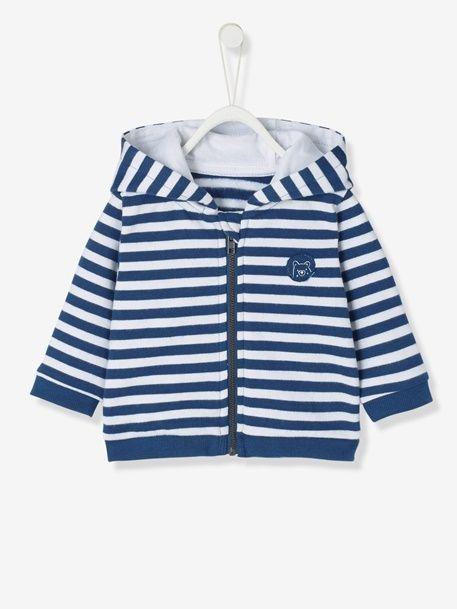 Cardigan bébé en molleton doublé jersey - Gris chiné+Marine rayé - 4 40dc780d761