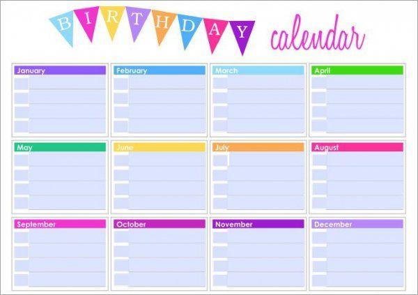 Birthday Calendar Calendar Template Budget Binder Printable