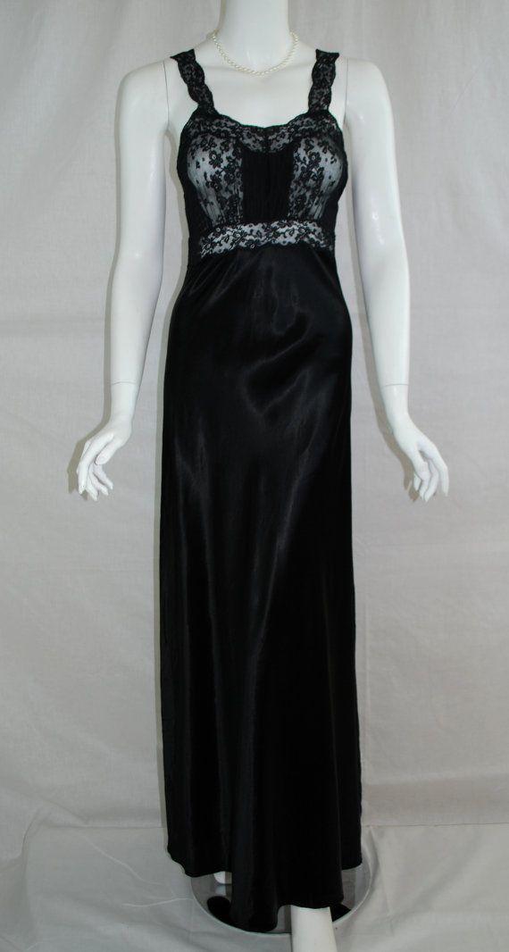 20bd60985dd4 1940s Black Rayon Nightgown, Xsmall, Small, Liquid Rayon Satin ...