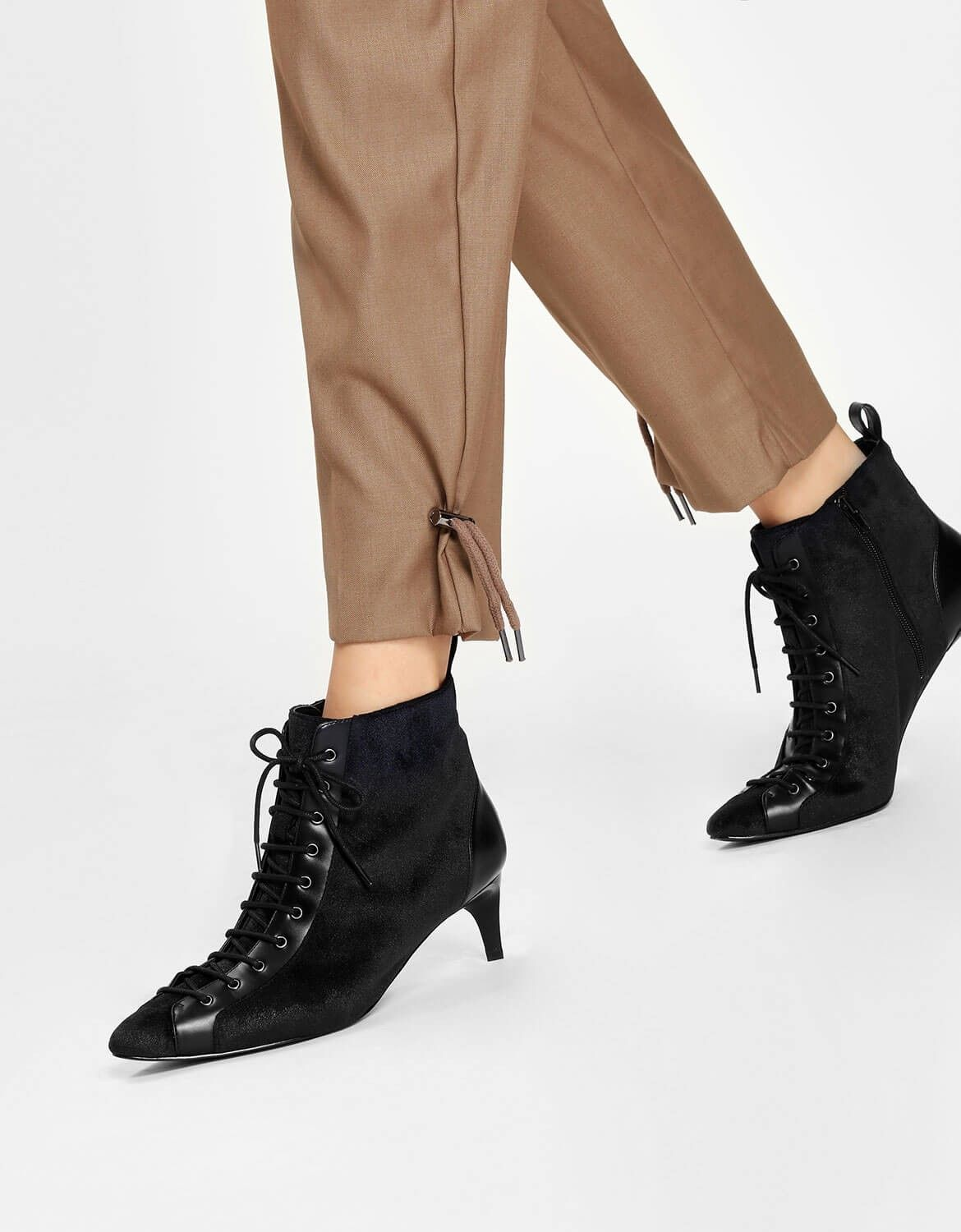 Black Kitten Heel Lace Up Boots Charles Keith Boots Heels Black Boots